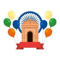 Ashoka chakra com portão indiano e balões de hélio vetor