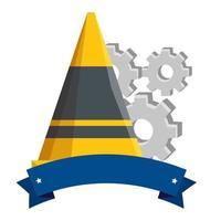 ferramenta de cone de construção com máquina de engrenagens vetor