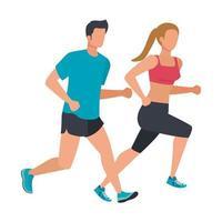 jovem casal atlético correndo personagens vetor