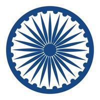 ícone do emblema indiano ashoka chakra vetor