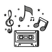 gravação de fita cassete com notas musicais vetor