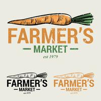 Logotipo do mercado de cenouras e fazendeiros vetor