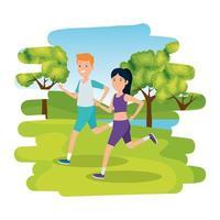 casal feliz e atlético correndo no acampamento vetor