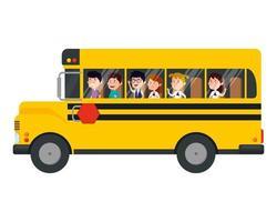 transporte de ônibus escolar com grupo de crianças vetor