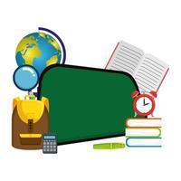 escola quadro-negro com elementos educacionais vetor