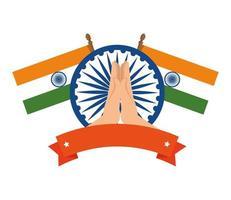 Ashoka chakra com bandeiras do emblema indiano vetor