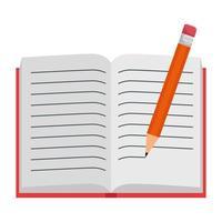 livro de texto aberto com escrita a lápis vetor