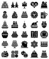 conjunto de ícones sólidos de alimentos e bebidas de natal vetor