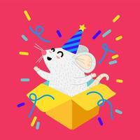 mouse em ilustração vetorial de desenho animado de caixa de presente vetor