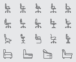 conjunto de ícones de linha de cadeira e sofá
