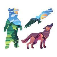 paisagem em desenho animado conjunto de silhueta de animal selvagem