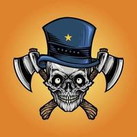 crânio de machado isolado com chapéu de estrela vetor