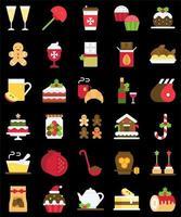 conjunto de ícones planos de alimentos e bebidas de natal vetor