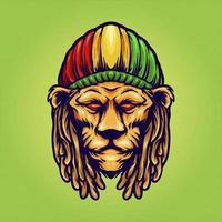 cabeça de leão usando chapéu jamaicano vetor
