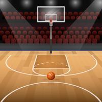 Campo de basquete com ilustração vetorial de basquete
