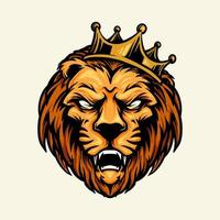 cabeça de leão com mascote coroa vetor