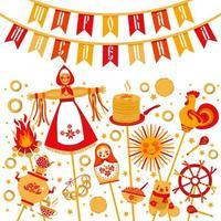 vetor definido sobre o tema do carnaval feriado russo. tradução russa ampla shrovetide ou maslenitsa.