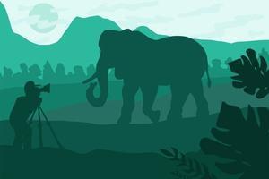 ilustração plana do fotógrafo da vida selvagem