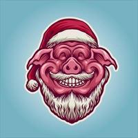 ilustração de mascote de feliz natal porco fofo