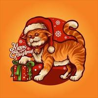 desenho animado gato fofo com ilustração vetorial de presente