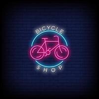 vetor de texto de estilo de sinais de néon loja de bicicletas