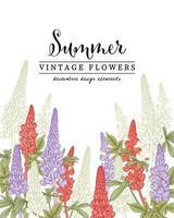 cartão de convite de desenhos de flores de tremoço