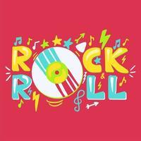 letras de desenho animado rock n roll vetor