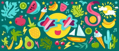 conjunto de ilustrações planas de verão tropical