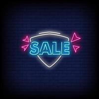 venda sinais de néon estilo vetor de texto