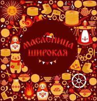vetor definido sobre o tema do carnaval feriado russo. tradução de russo-shrovetide ou maslenitsa ampla.