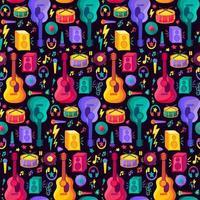 padrão liso sem costura de instrumento musical colorido vetor