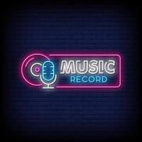 vetor de texto de estilo de sinais de néon de gravação de música