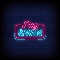 jogar e ganhar vetor de texto de estilo de sinais de néon