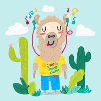 lhama em fones de ouvido personagem de desenho animado plano