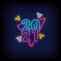 Vetor de texto de estilo de sinais de néon 2021