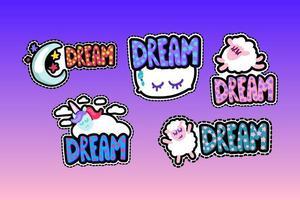 conjunto de ilustrações de molduras costuradas de letras dos sonhos