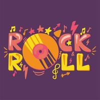 modelo de pôster de desenho animado rock n roll vetor
