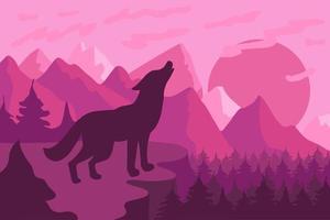 paisagem de floresta com ilustração vetorial plana de lobo vetor