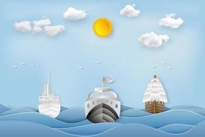 corte de arte em papel e estilo artesanal digital dos barcos vetor