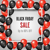 sexta-feira negra com balões brilhantes e vermelhos em moldura quadrada vetor