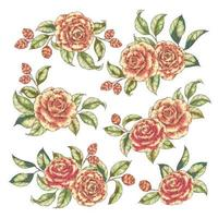 conjunto de buquê floral vetor