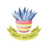 vaso de flores estilo aquarela e fita de feliz aniversário vetor