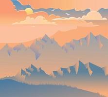 ilustração vetorial pôr do sol nas montanhas
