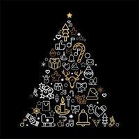silhueta da árvore de natal com ícones lineares de férias