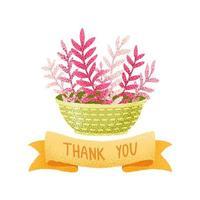 vaso de flores estilo aquarela e fita de agradecimento vetor