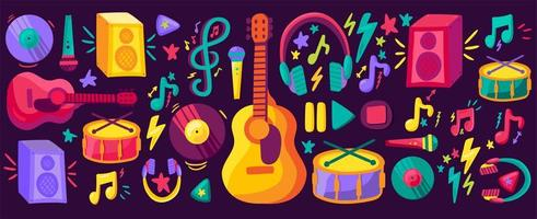 conjunto de clipart planos de instrumentos musicais