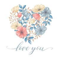 cartão de flores de coração em estilo aquarela vetor