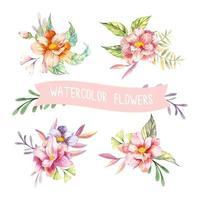 aquarela flores da primavera vetor