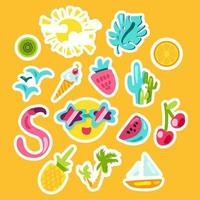 conjunto de adesivos de cores de verão