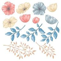 elementos isolados de estilo aquarela floral